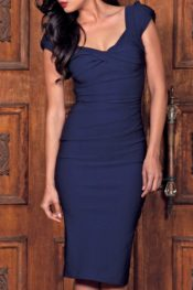 Stop Staring! Billion Dollar Fitted Dress Navy