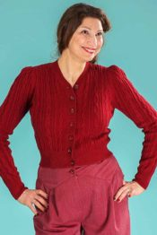 Emmy The Ice Skater Cardigan Burgundy