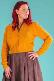 Emmy The Ice Skater Cardigan Mustard