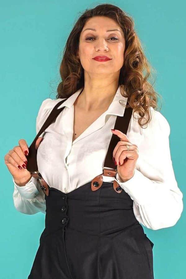 Emmy The Sassy Suspenders Black Cognac