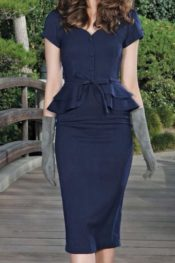 Stop Staring! Jeannette Fitted Dress Dark Navy