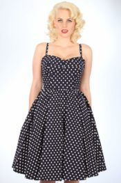 Stop Staring! Summertime Dress Navy With White Dots