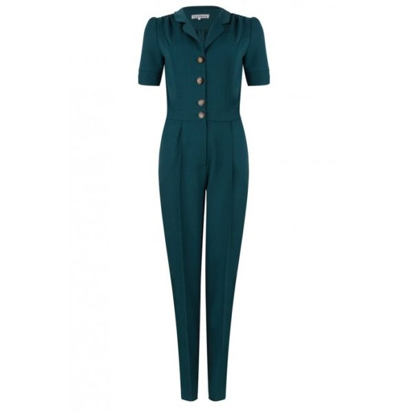 Very Cherry Classic Jumpsuit Teal