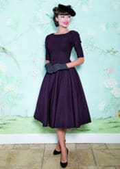 Stop Staring! Black Aubergine Red October Pin Up Swing Dress