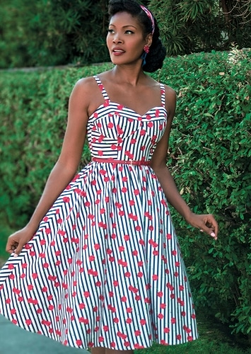 STOP STARING BE MINE SWING DRESS CHERRY STRIPES