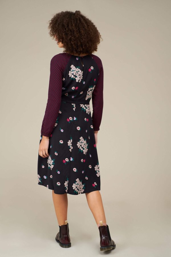 EMILYANDFIN Stephy Dress Winter Blossoms Fuchsia Polka