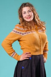 Emmy The Fair Fair Isle Cardigan Mustard Multi