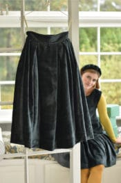 September20 Long Pleated Skirt In Petrol Velvet Cord