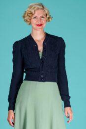 Emmy Susie Q Cardigan Navy Cotton