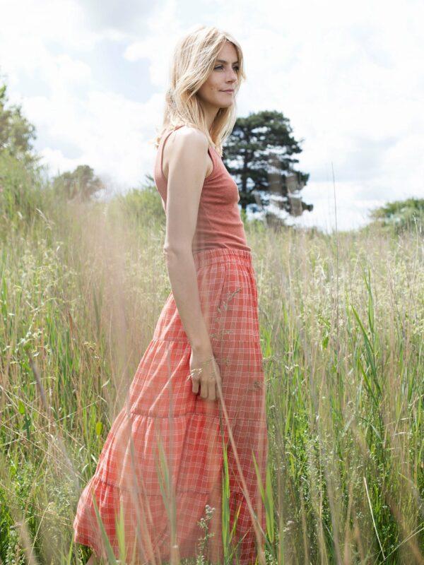 Serendipity Skirt Berry Checks Light Woven
