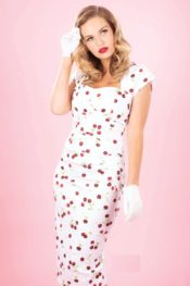 Stop Staring! Uma Dress White Cherry