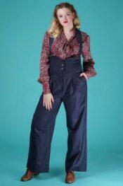 Emmy The Miss Fancy Pants Slacks Navy Pinstripe Tweed