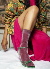 Swedish Stockings Ines Shimmery Socks Wine
