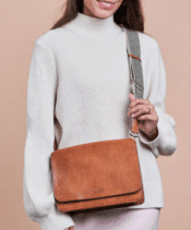 O MY BAG Audrey Cognac Classic Leather Checkered Strap