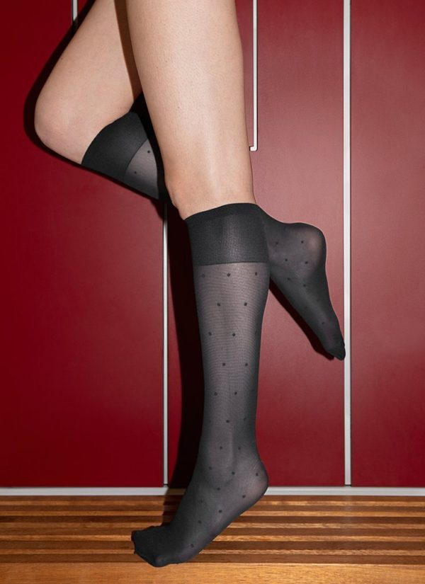 Swedish Stockings Doris Dots Knee-Highs Black