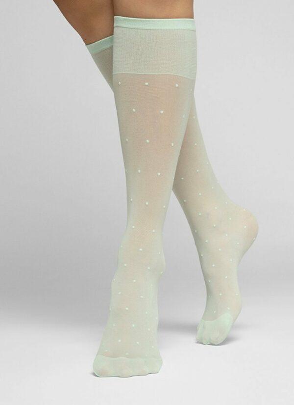 Swedish Stockings Doris Dots Knee-Highs Light Green
