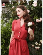 Very Cherry Revers Dress Midi Coral Gabardine
