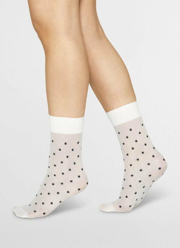 Swedish Stockings Eva Dot Socks Ivory Black