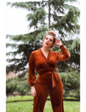 Very Cherry Emmylou Jumpsuit Steam Velvet Cognac